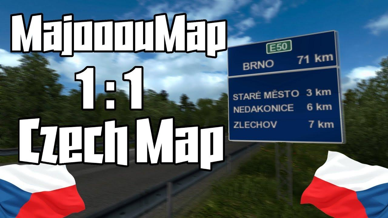 Majooou Map FREE DEMO / Real-scale map of Czech Republic for