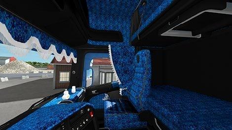 Black/Blue Pluche Interior for Scania RJL v1.0