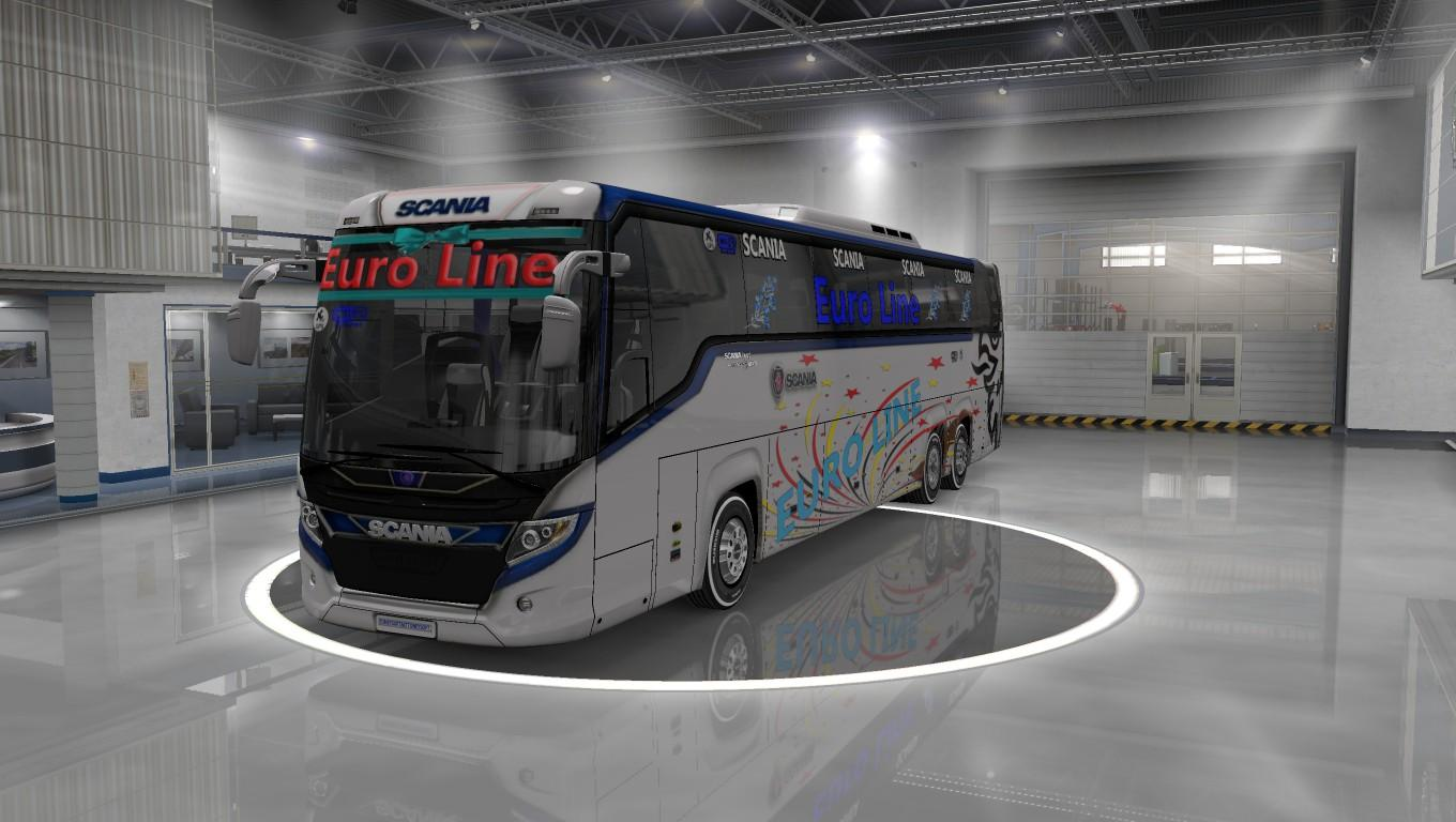 Scania touring new euro line skin with more addon 1.33