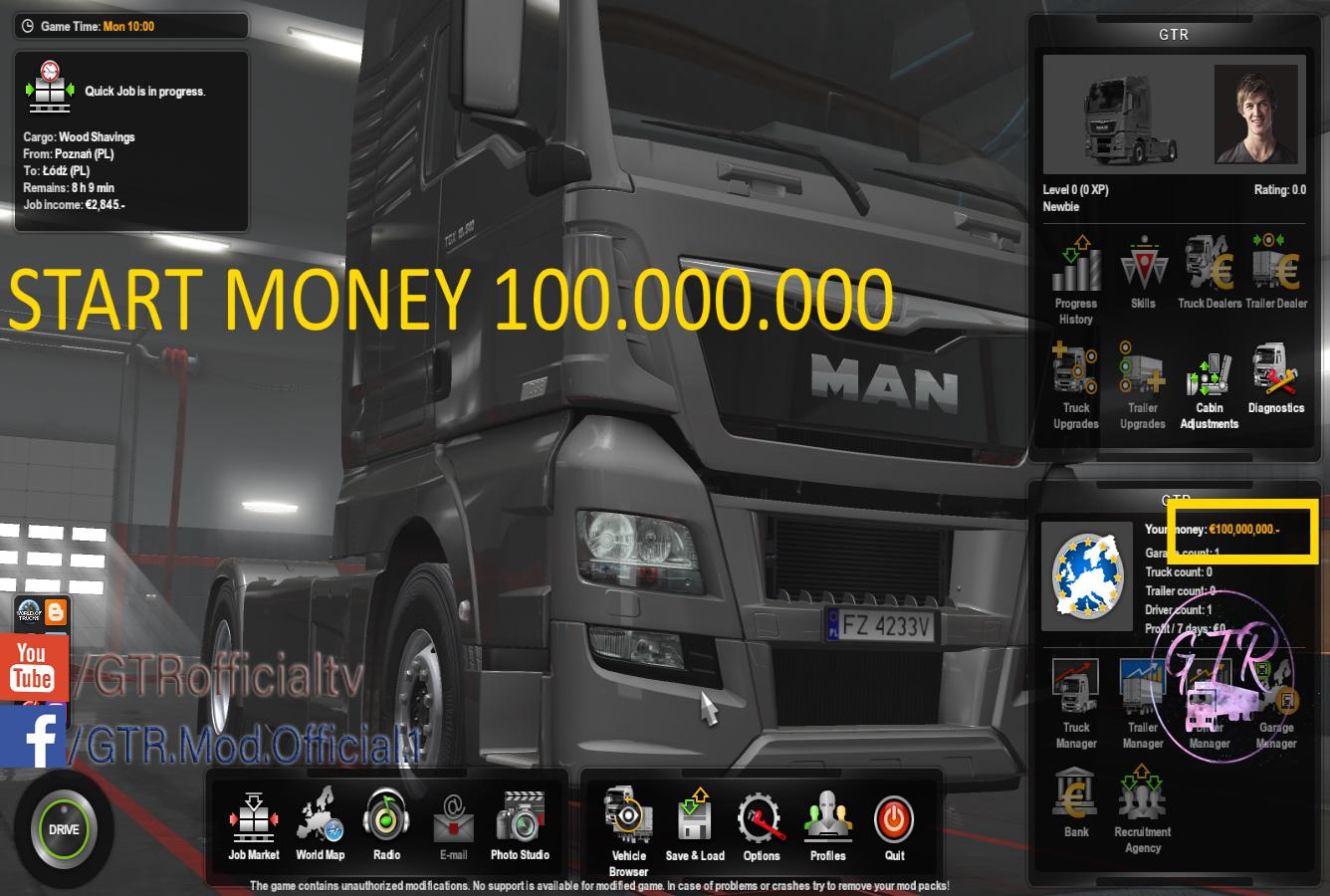 Start Money 100.000.000$ 1.34 ets2 mod