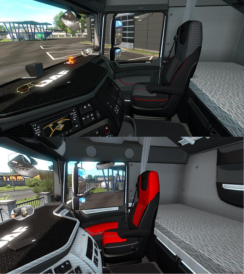 White black carbon detailed DAF XF euro6 interior v1.0