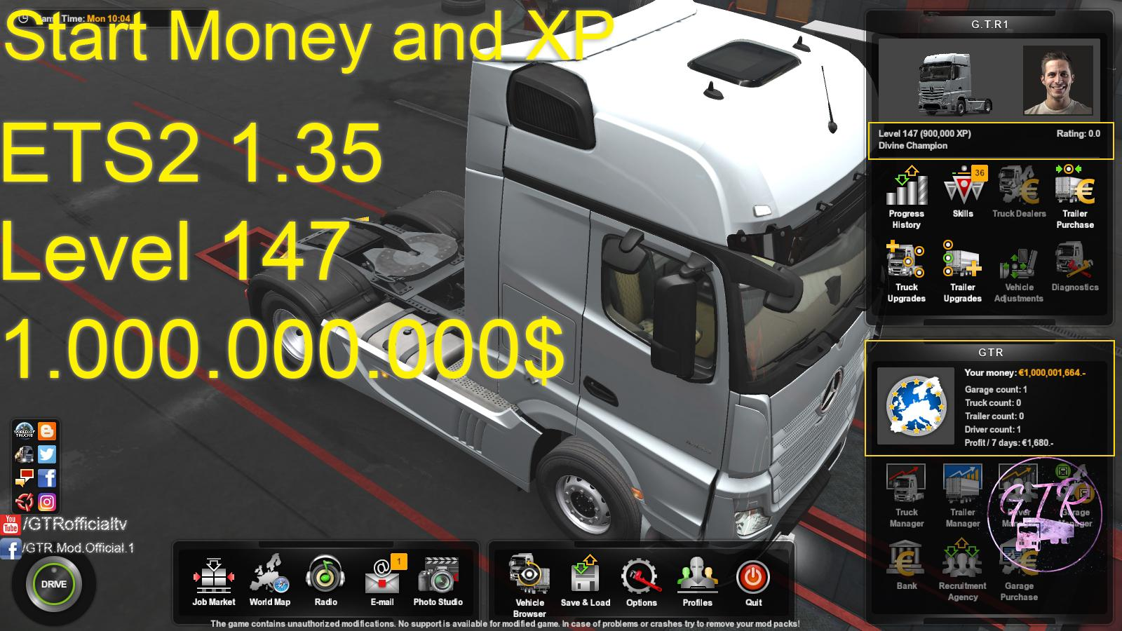 START MONEY AND XP FOR ETS2 1.35.x