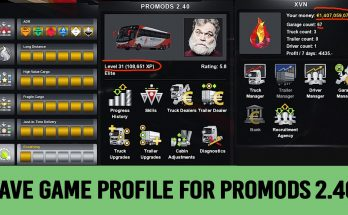 Save Game (Profile) for ProMods 2.40 ETS2 1.34