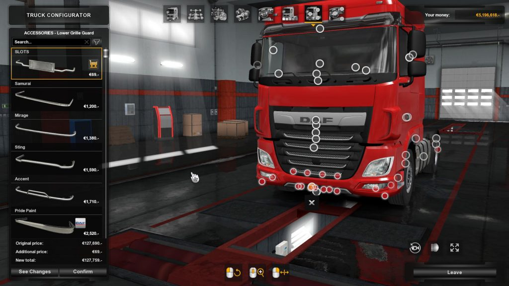 Bottom slots for DAF XF euro 6 v1.3