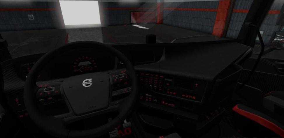Volvo FH 2012 Black - Red Interior With Red Interior Lights 1.36.x