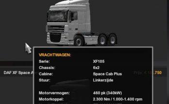 10.000l Fuel Tank for all SCS DAF Trucks 1.36.x