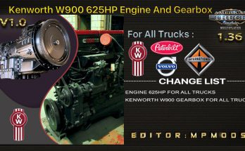 KENWORTH W900 625HP, GEARBOX FOR DAF TRUCKS V1.0