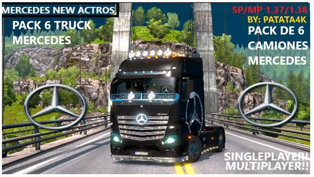 MB New ACTROS PACK 6 TRUCKS MULTIPLAYER + TRUCKERSMP v1.0