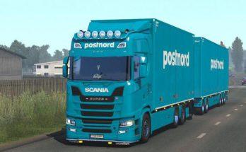 Postnord tandem skin by kRipt for Scania NG v1.0