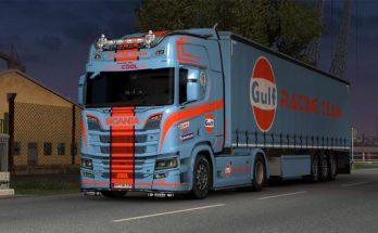 Scania R NG & Trailer Gulf Skin v1.0